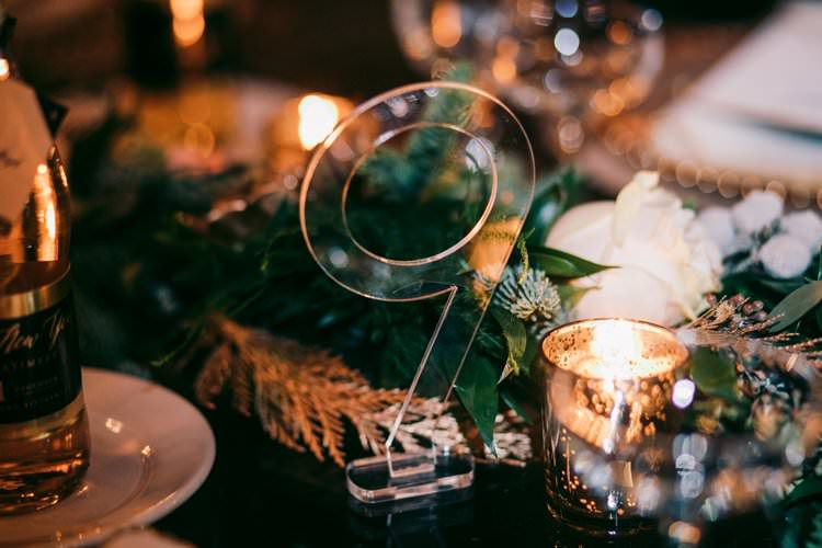 Winter Garland Acrylic Perspex Table Number Modern Decor | Festive Glamour Christmas New Years Eve Wedding http://www.stevendrayimages.com/