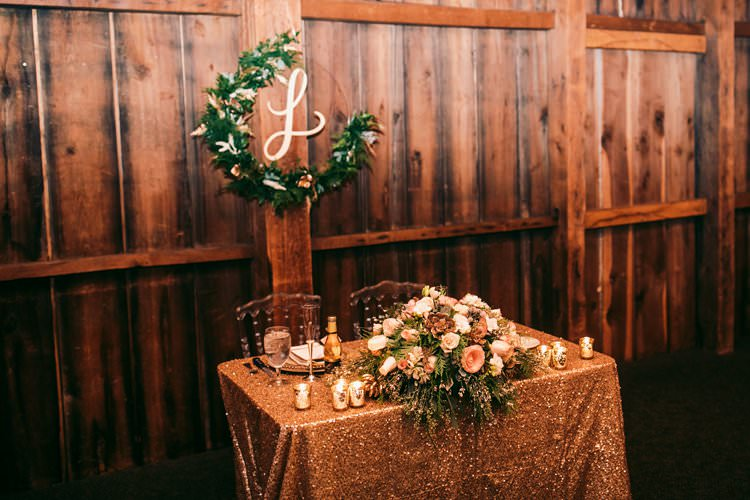 Top Table Sequin Cloth Gold Garland Wreath Foliage Blush Flowers | Festive Glamour Christmas New Years Eve Wedding http://www.stevendrayimages.com/