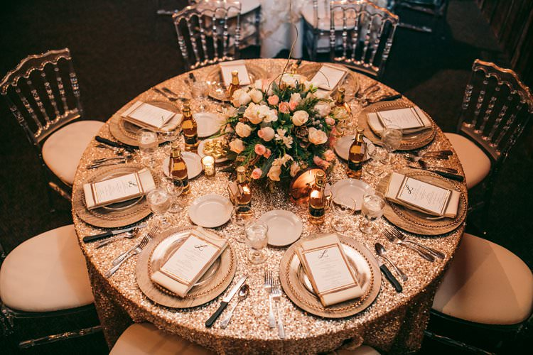 Sequin Gold Glass Perspex Chairs Wood Charger Plates Glam Table Decor | Festive Glamour Christmas New Years Eve Wedding http://www.stevendrayimages.com/