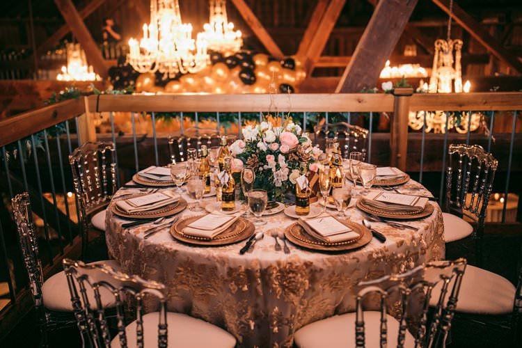 White Gold Glass Perspex Chairs Modern Pink Flowers Barn Decor | Festive Glamour Christmas New Years Eve Wedding http://www.stevendrayimages.com/