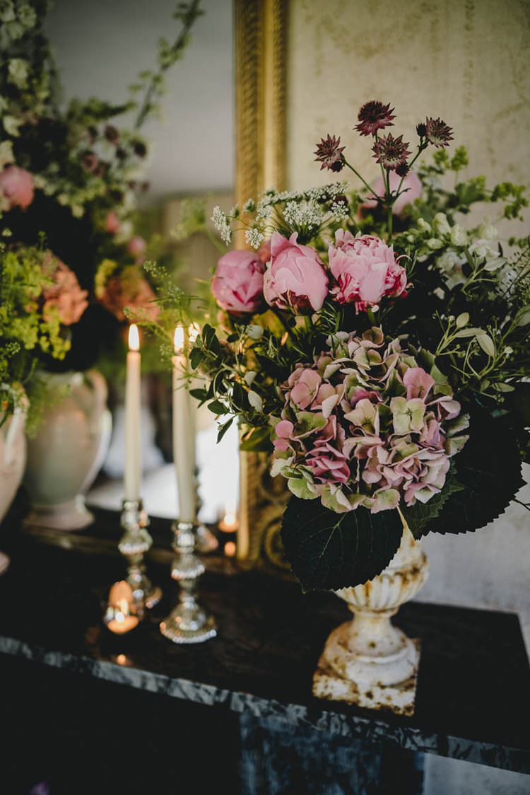 Pink Flowers Peony Peonies Hydrangea Rose Mantlepiece Romantic Luxe Wedding Ideas in the Country http://benjaminmathers.co.uk/
