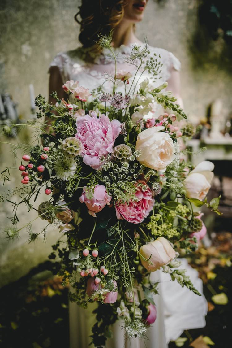Pink Bouquet Flowers Bride Bridal Peony Peonies Rose Romantic Luxe Wedding Ideas in the Country http://benjaminmathers.co.uk/