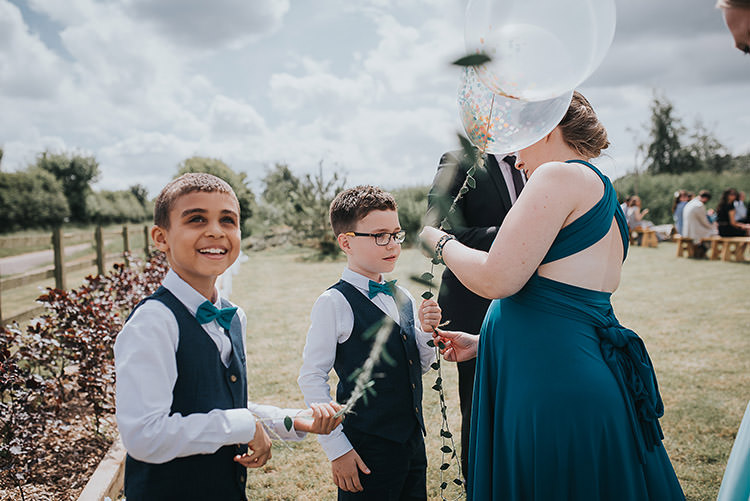 Page Boys Bow Ties Balloons Happy Crafty Summer Farm Wedding http://twigandvine.photography/