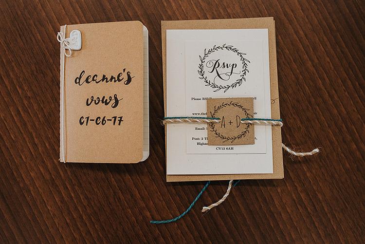 Kraft Stationery Brown Paper Invites Invitations Twine Happy Crafty Summer Farm Wedding http://twigandvine.photography/