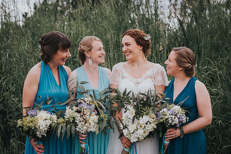 Blue Multiway Bridesmaid Dresses Happy Crafty Summer Farm Wedding http://twigandvine.photography/