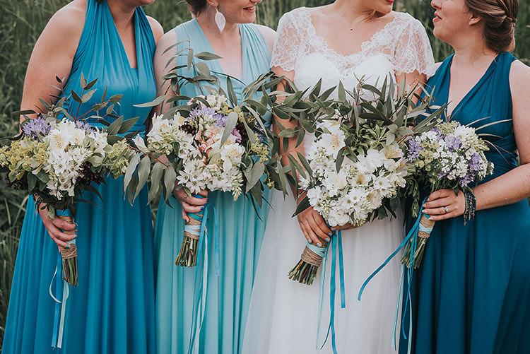 Bridesmaid Bouquets Flowers Blue White Happy Crafty Summer Farm Wedding http://twigandvine.photography/