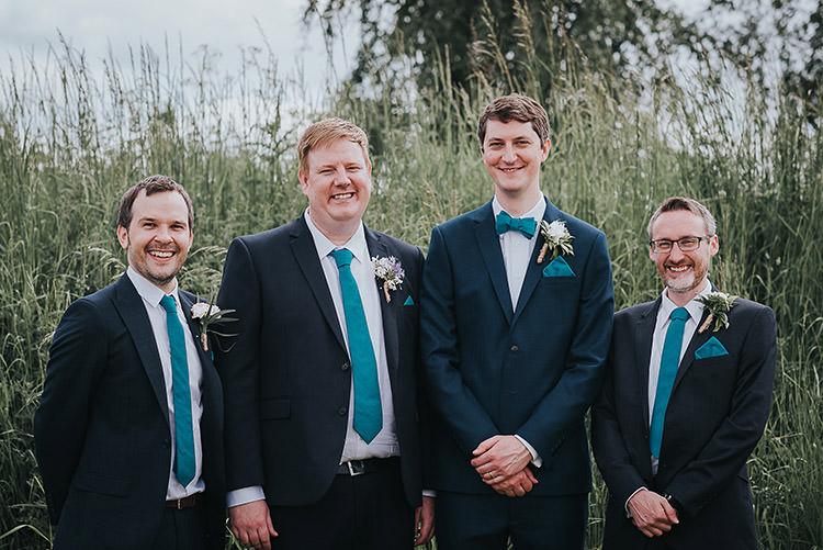 Groom Groomsmen Suits Navy Blue Bow Ties Happy Crafty Summer Farm Wedding http://twigandvine.photography/