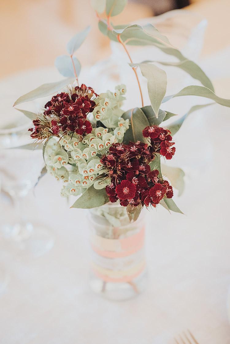 Jar Flowers Greenery Red Table Centrepiece Happy Crafty Summer Farm Wedding http://twigandvine.photography/