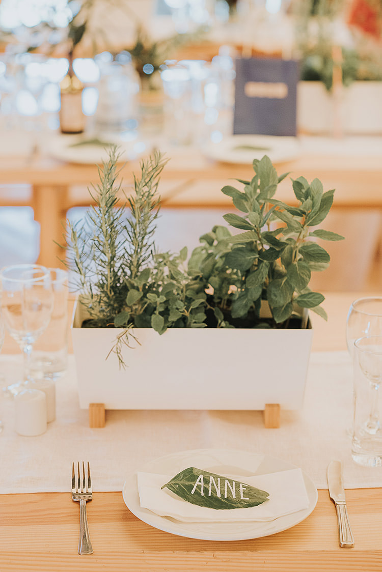 Place Setting Table Name Leaf Happy Crafty Summer Farm Wedding http://twigandvine.photography/