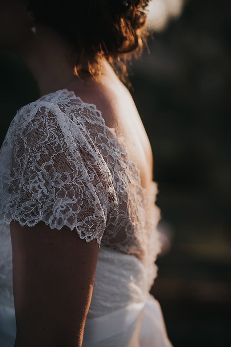 Lace Cap Sleeve Dress Gown Bride Bridal Happy Crafty Summer Farm Wedding http://twigandvine.photography/