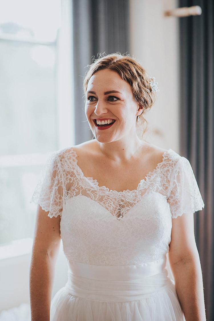 Cap Sleeve Lace Dress Gown Bride Bridal Happy Crafty Summer Farm Wedding http://twigandvine.photography/