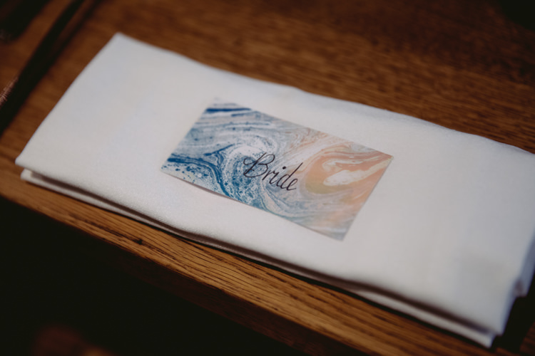 Place Card Marbling Modern Calligraphy Rustic Cosy Autumn Wedding Lake District http://hayleybaxterphotography.com/