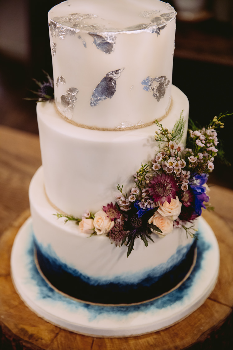 Foil Metallic Cake Geode Wax Flower Tiered Rustic Cosy Autumn Wedding Lake District http://hayleybaxterphotography.com/