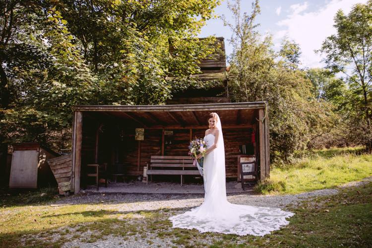 Bride Bridal Enzoani Fishtail Dress Gown Long Veil Rustic Cosy Autumn Wedding Lake District http://hayleybaxterphotography.com/