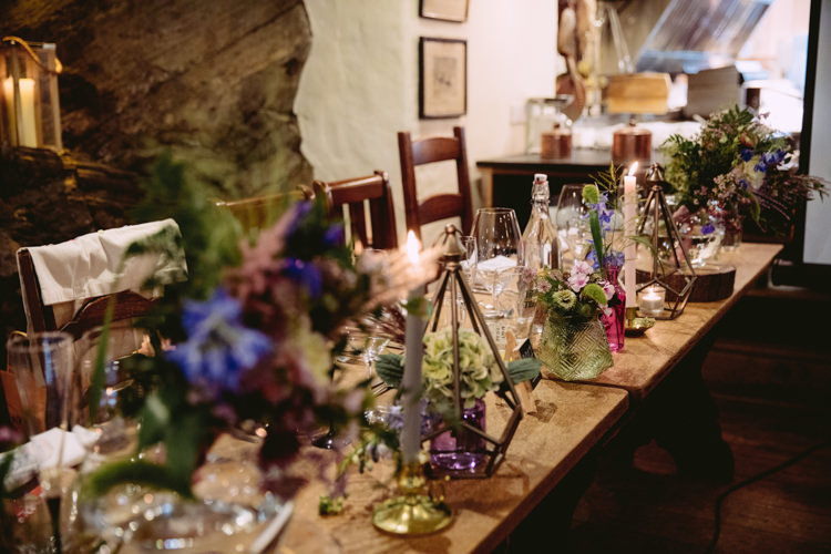 Table Centre Candlestick Florals Flower Geometric Lantern Hydrangea Jar Bottle Rustic Cosy Autumn Wedding Lake District http://hayleybaxterphotography.com/