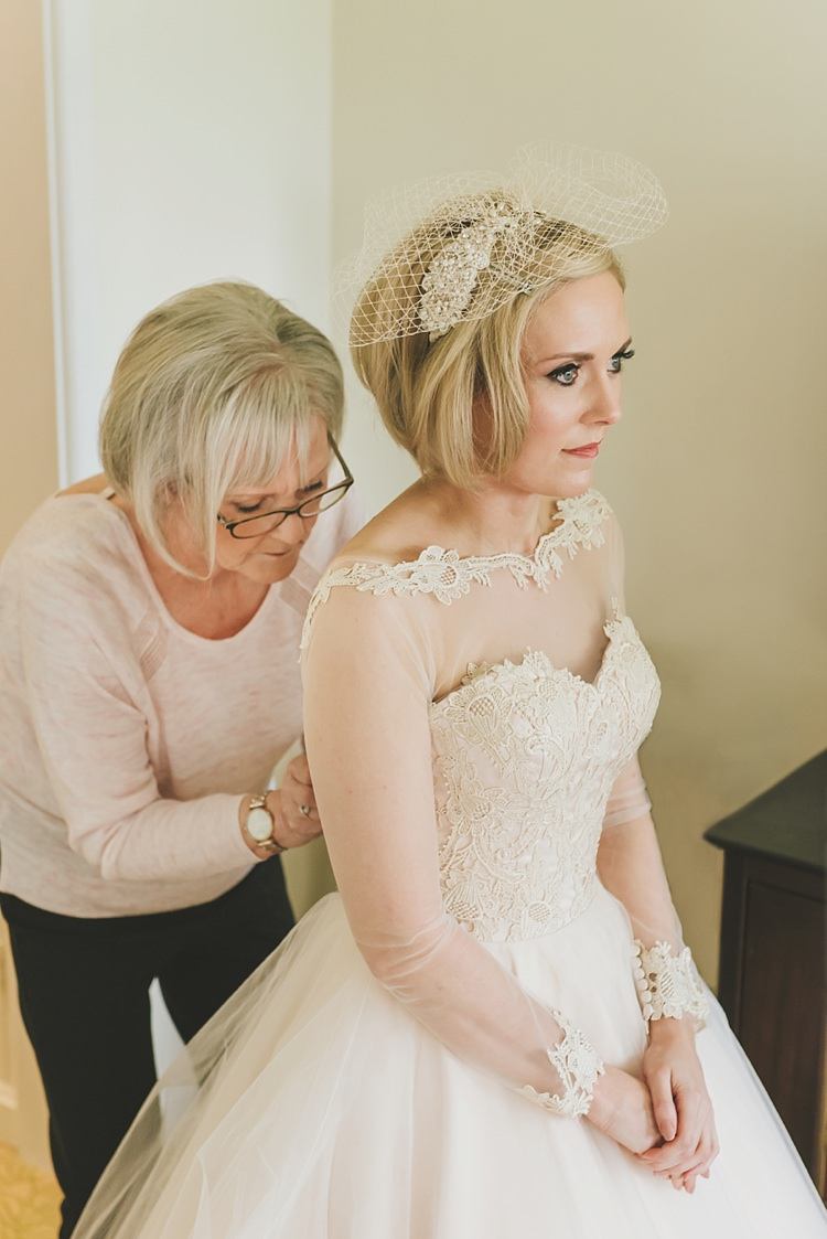 Sheer Sleeves Lace Dress Gown Bride Bridal Untraditional Pretty Travel Barn Wedding https://www.georgimabee.com/