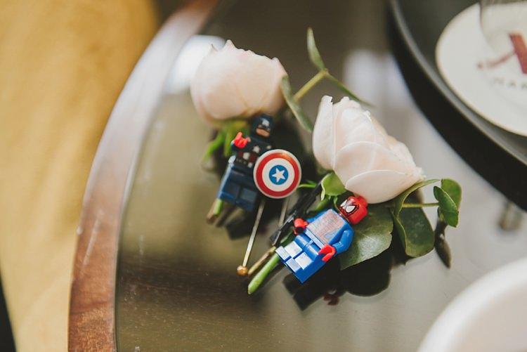 Lego Flower Buttonholes Groom Untraditional Pretty Travel Barn Wedding https://www.georgimabee.com/