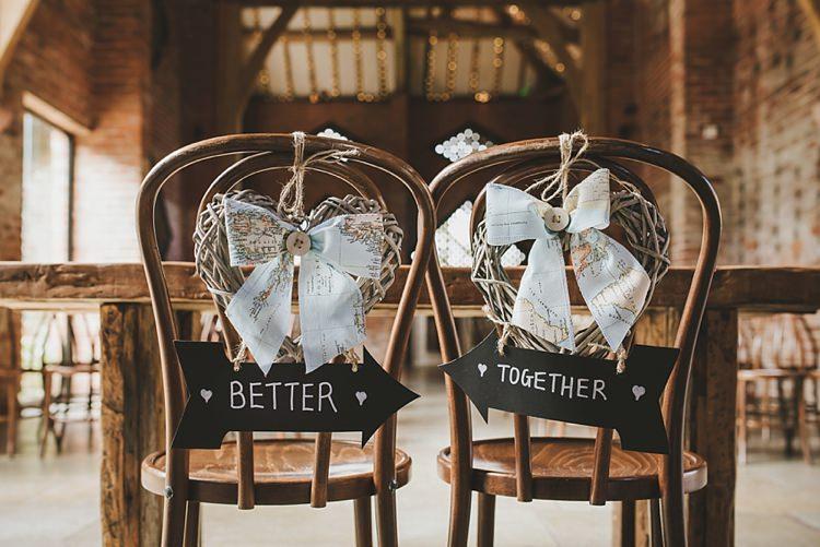Chair Sign Decor Better Together Arrows Bride Groom Untraditional Pretty Travel Barn Wedding https://www.georgimabee.com/