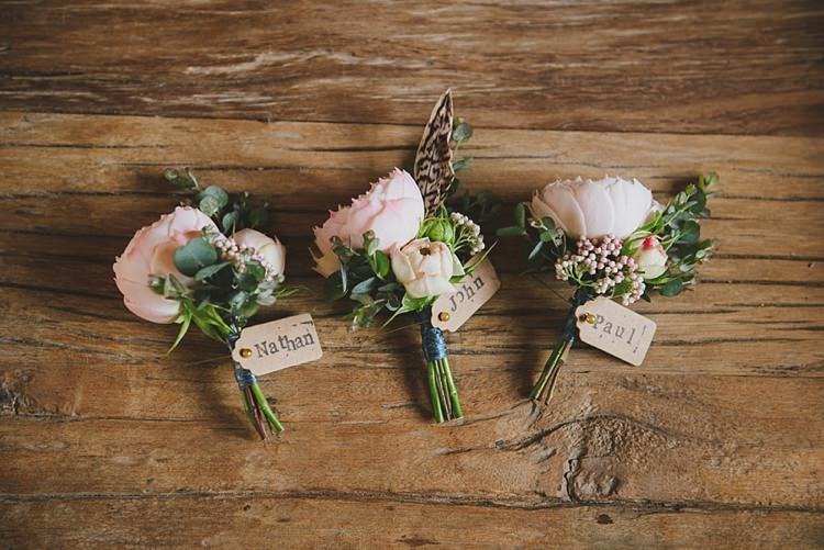 Buttonholes Peones Feather Groom Groomsmen Untraditional Pretty Travel Barn Wedding https://www.georgimabee.com/
