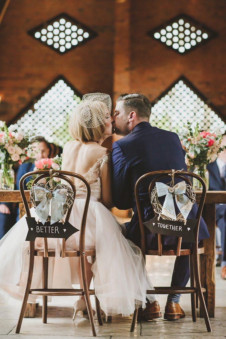 Chair Signs Bride Groom Untraditional Pretty Travel Barn Wedding https://www.georgimabee.com/