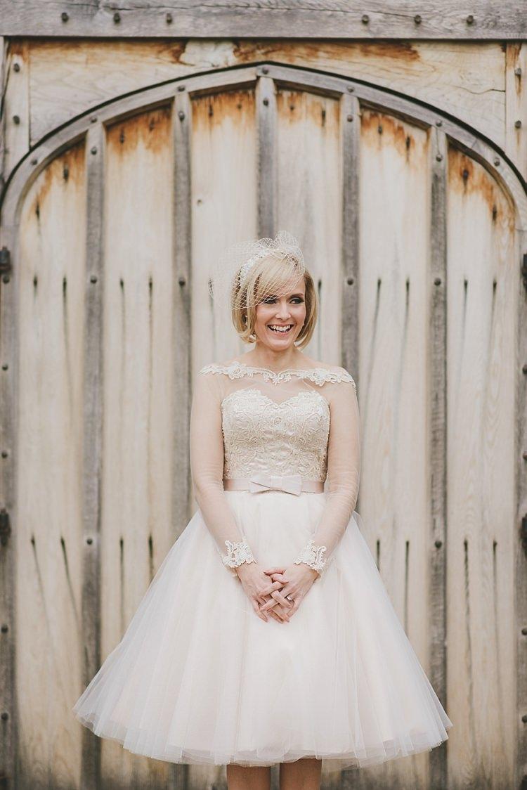 House of Mooshki Short Dress Blush Bride Bridal Tulle Lace Gown Untraditional Pretty Travel Barn Wedding https://www.georgimabee.com/