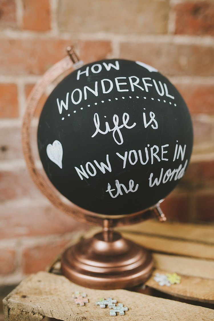 Painted Globe Quote Sign Untraditional Pretty Travel Barn Wedding https://www.georgimabee.com/