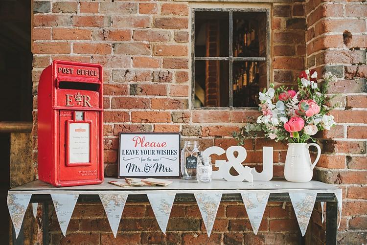 Card Post Box Untraditional Pretty Travel Barn Wedding https://www.georgimabee.com/
