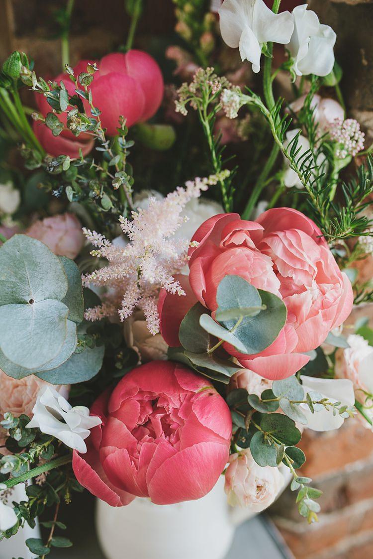 Peony Peonies Astilbe Eucalyptus Flowers Jug Untraditional Pretty Travel Barn Wedding https://www.georgimabee.com/