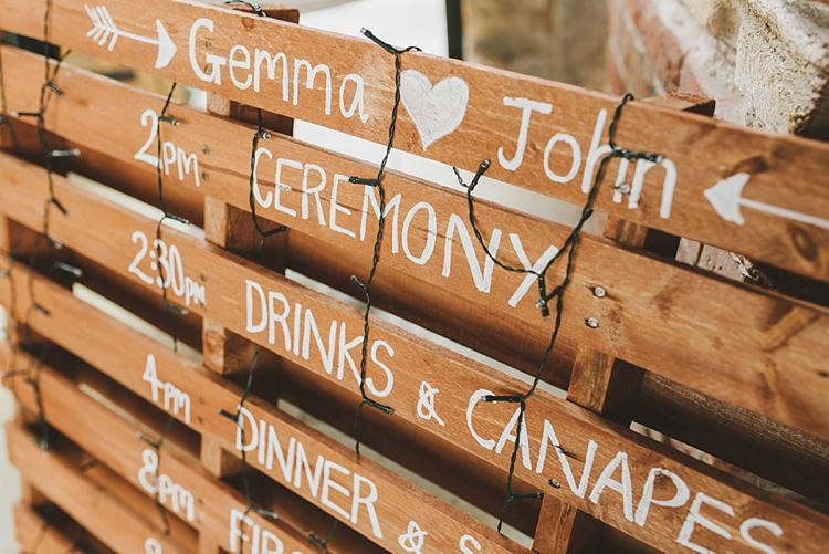 Wooden Pallet Sign Order Day Untraditional Pretty Travel Barn Wedding https://www.georgimabee.com/