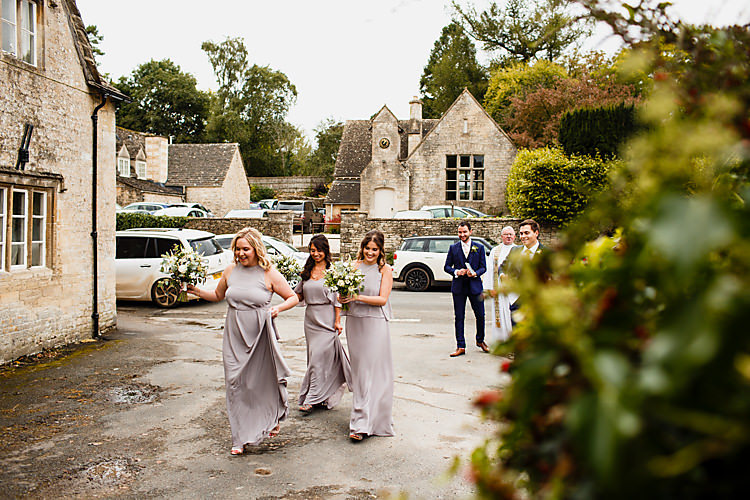 Grey Bridesmaids Long Dresses Chic Country Cotswolds Barn Wedding http://annabphotography.co.uk/