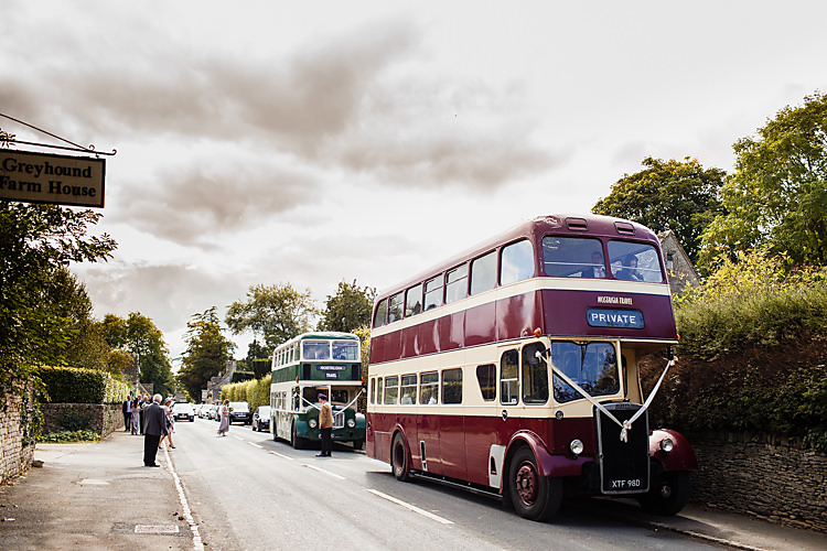 Bus Transport Double Decker Chic Country Cotswolds Barn Wedding http://annabphotography.co.uk/
