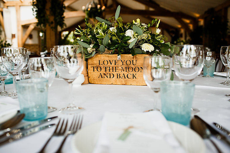 Flowers Box Wooden Chic Country Cotswolds Barn Wedding http://annabphotography.co.uk/