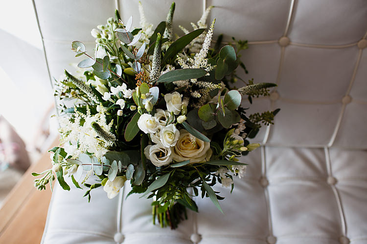 Greenery Foliage Bouquet Flowers White Green Chic Country Cotswolds Barn Wedding http://annabphotography.co.uk/