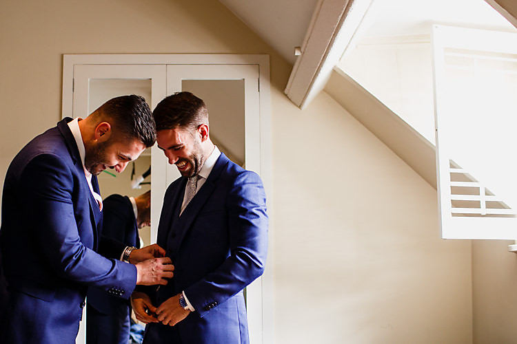 Navy Suit Groom Groomsmen Chic Country Cotswolds Barn Wedding http://annabphotography.co.uk/