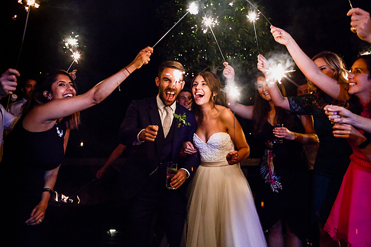 Sparklers Bride Groom Chic Country Cotswolds Barn Wedding http://annabphotography.co.uk/