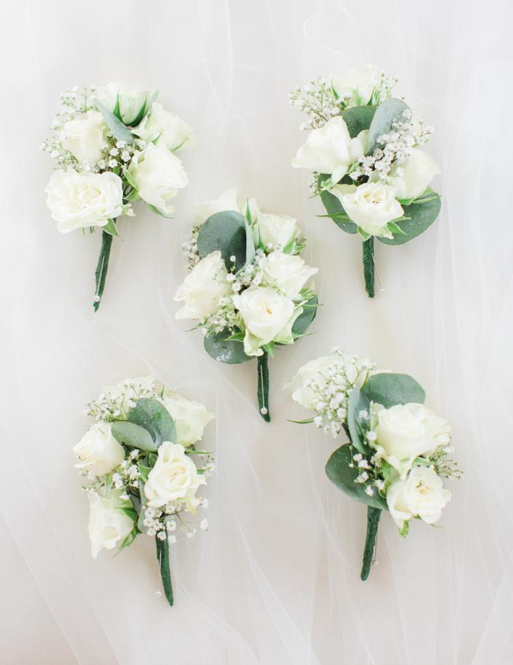 White Buttonholes Rose Eucalyptus Pastels Gold Pretty Summer Barn Wedding http://summerlilystudio.com/