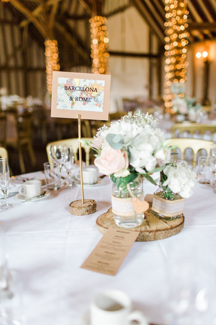 Map Travel Table Name Jar Flowers Pastels Gold Pretty Summer Barn Wedding http://summerlilystudio.com/