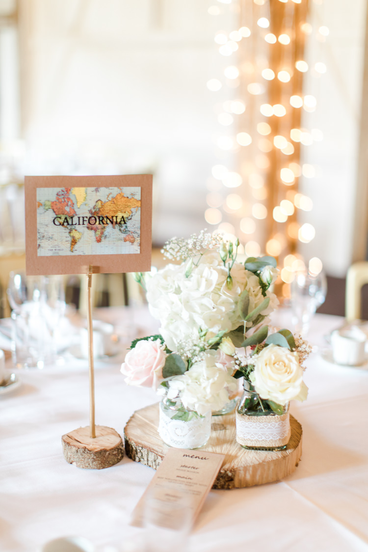 Table Decor Centrepiece Flowers Jars Log Hessian Lace Pastels Gold Pretty Summer Barn Wedding http://summerlilystudio.com/