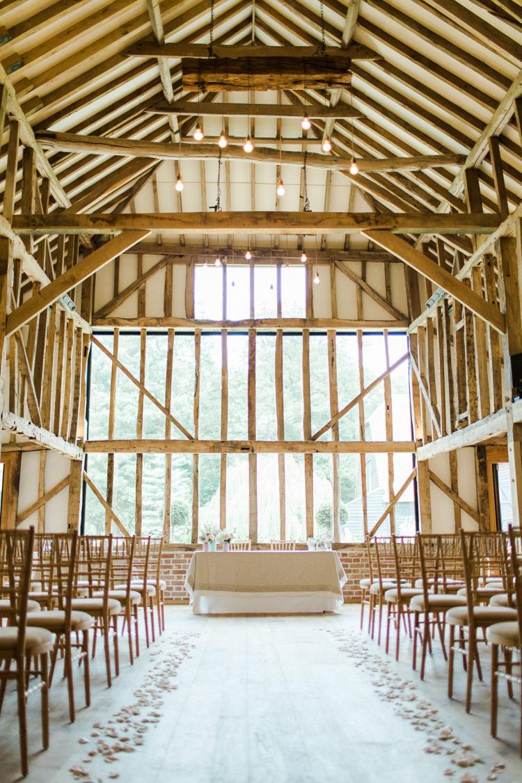 Ceremony Petals Aisle Decor Pastels Gold Pretty Summer Barn Wedding http://summerlilystudio.com/