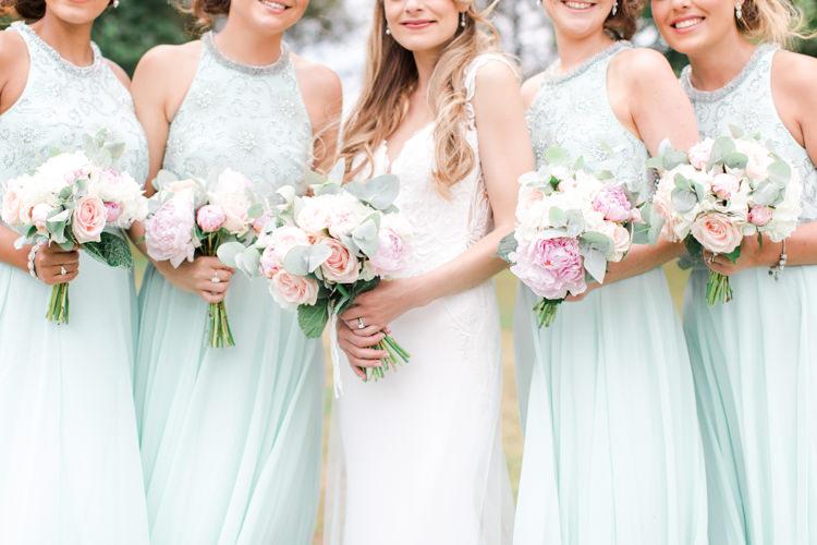 Mint Green Bridesmaids Flowers Bouqets Pastels Gold Pretty Summer Barn Wedding http://summerlilystudio.com/