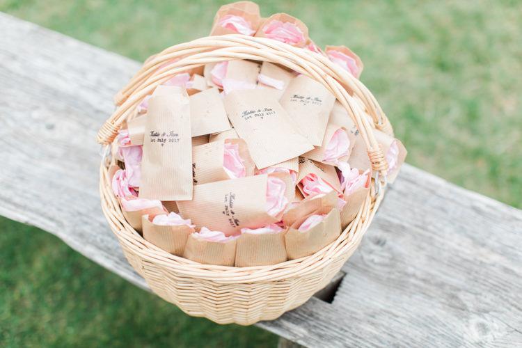 Confetti Bags Basket Pastels Gold Pretty Summer Barn Wedding http://summerlilystudio.com/