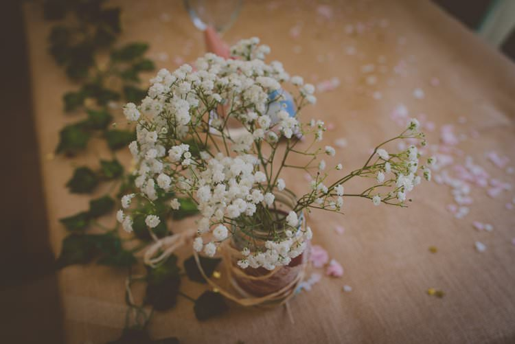 Gypsophila Flowers Hessian Jars Decor Bohemian Ethical Vegan Country Wedding http://laurarhianphotography.co.uk/