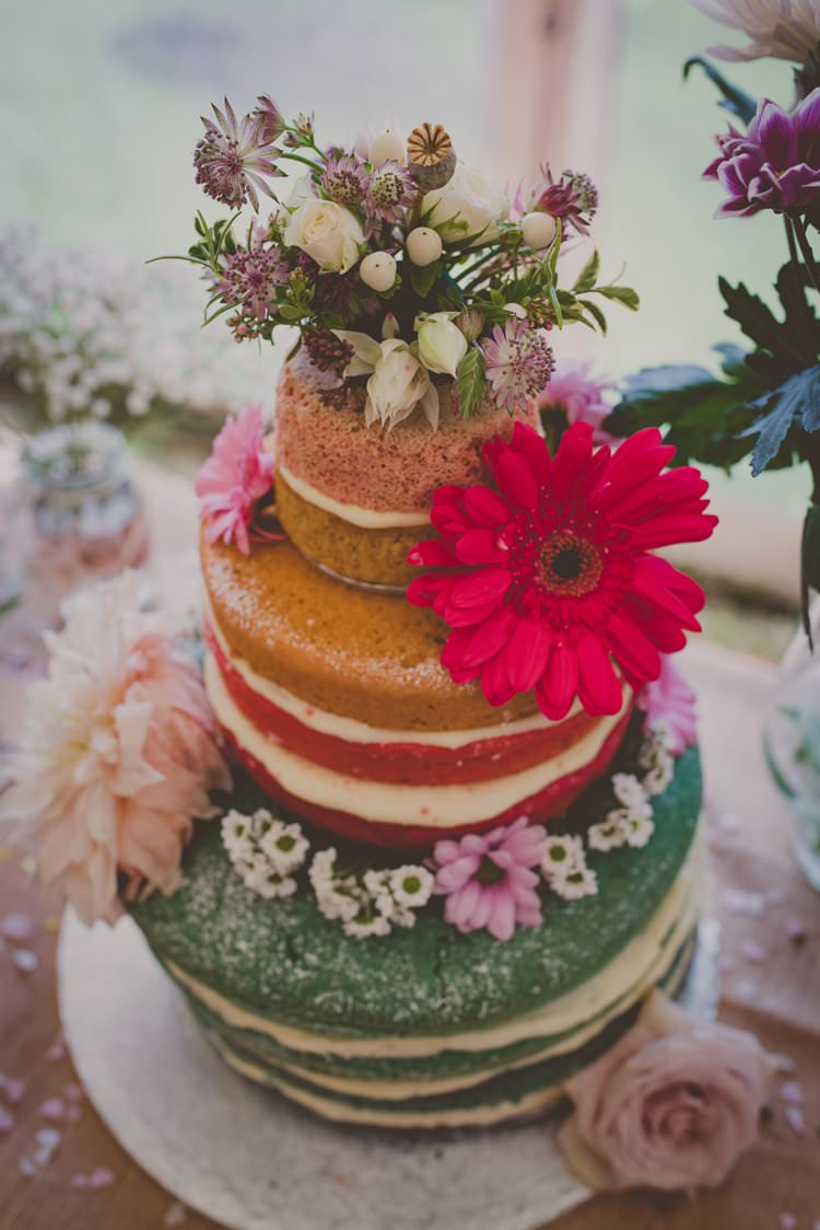 Naked Rainbow Cake Layer Flowers Sponge Bohemian Ethical Vegan Country Wedding http://laurarhianphotography.co.uk/