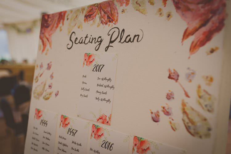 Floral Seating Plan Table Chart Bohemian Ethical Vegan Country Wedding http://laurarhianphotography.co.uk/