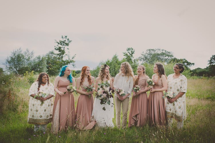 Mismatched Bridesmaids Dresses Bohemian Ethical Vegan Country Wedding http://laurarhianphotography.co.uk/