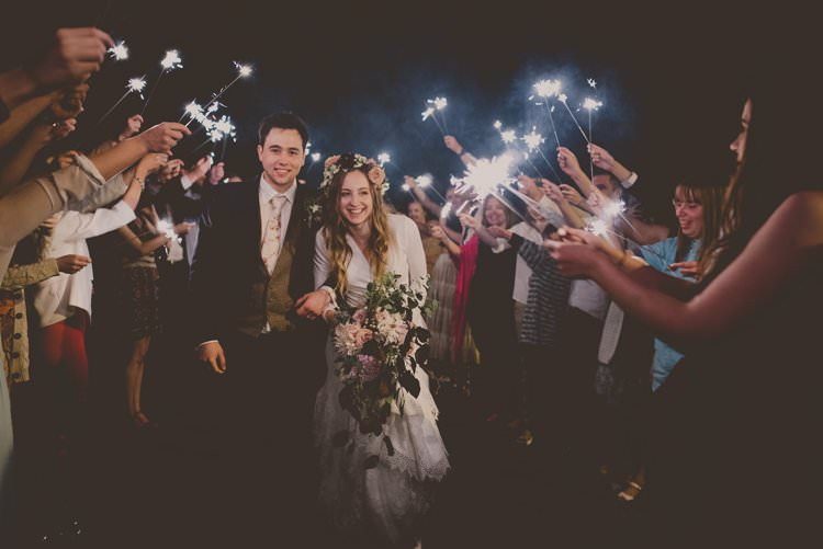 Sparklers Exit Bride Groom Bohemian Ethical Vegan Country Wedding http://laurarhianphotography.co.uk/