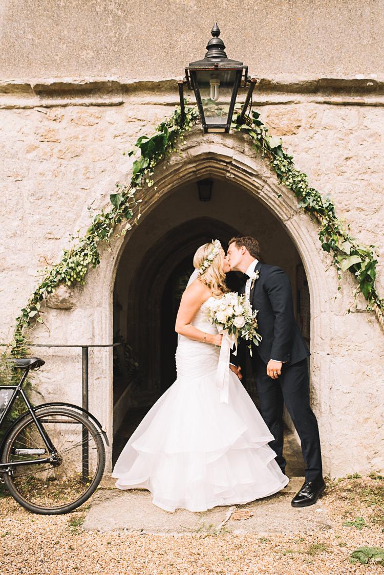 Church Flower Arch Greenery Door Tropical Boho Luxe Barn Wedding https://www.luciewatsonphotography.com/