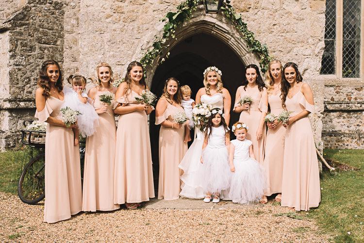 Peach Off Shoulder Bardot Bridesmaid Dresses Tropical Boho Luxe Barn Wedding https://www.luciewatsonphotography.com/