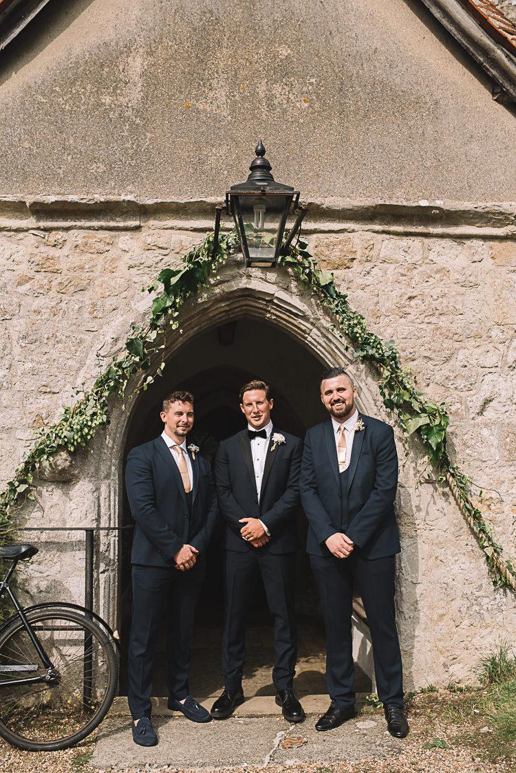 Groomsmen Suits Peach Ties Tropical Boho Luxe Barn Wedding https://www.luciewatsonphotography.com/
