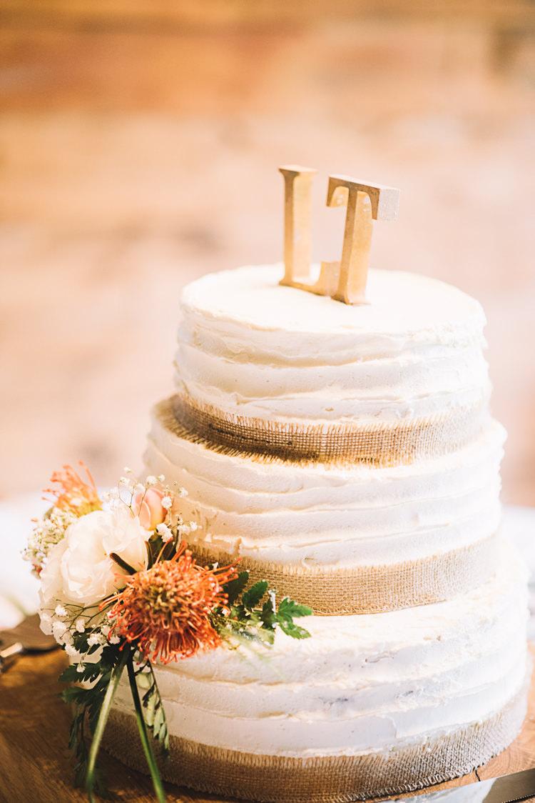 Buttercream Cake Hessian Burlap Tropical Boho Luxe Barn Wedding https://www.luciewatsonphotography.com/